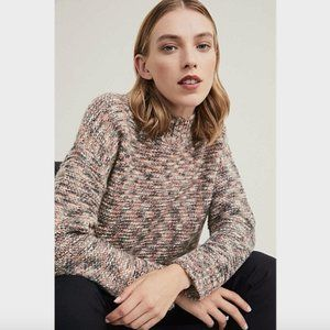 Witchery Pink Green Textured Twist Knit Jumper S